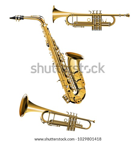 Realistic saxophone and musical trumpet, isolated objects on white background.