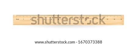 Realistic school wooden measuring ruler 15 centimeters. Foto stock ©