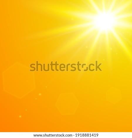 Realistic scorching yellow sun against an orange sky. Vector background of daytime sunny desert sky.