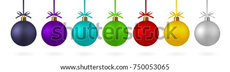 Realistic set Christmas ball with ribbon and bow. Red, yellow green, and others with the ability to simply and bistro will change color. On white background - stock vector.