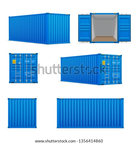 Realistic set of bright blue  cargo containers.   Front, side back and perspective view.  Open and closed. Delivery, transportation, shipping freight transportatio