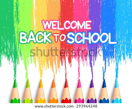 Realistic Set of Colorful Colored Pencils or Crayons with Brush Strokes Background in Back to School Title. Vector Illustration