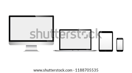 Realistic set of devices computer, laptop, tablet and mobile phone with white wallpaper screen isolated on white