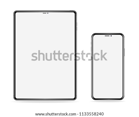 realistic set of electronic devices, tablet and phone with empty screen on white background