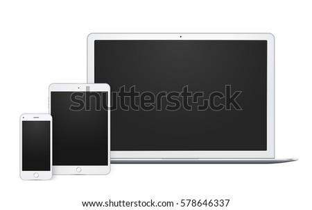 Realistic set of gadgets, open laptop, phone template and pad mock up with blank screen. vector quality illustration.