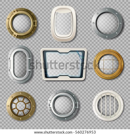 Realistic set of metal and plastic portholes of various shape on transparent background isolated vector illustration