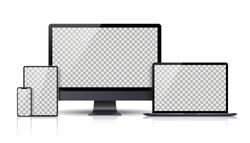 Realistic set of Monitor, laptop, tablet, smartphone dark grey color - Stock Vector.
