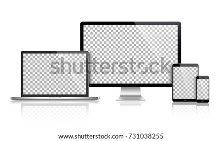 realistic set of monitor ...