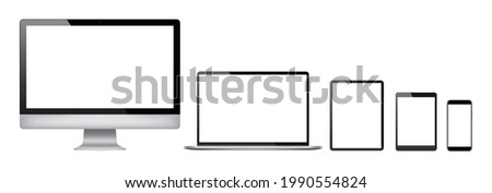 Realistic set of 2021 new design thin frame Computer monitor, laptop, tablet, smart phone - Eps 10 Vector template mock up.