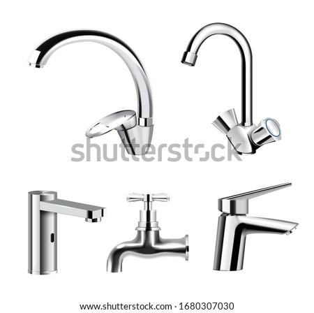 Realistic set of steel chrome plated water supply faucets various shapes and designs on white background isolated vector illustration   Foto d'archivio ©