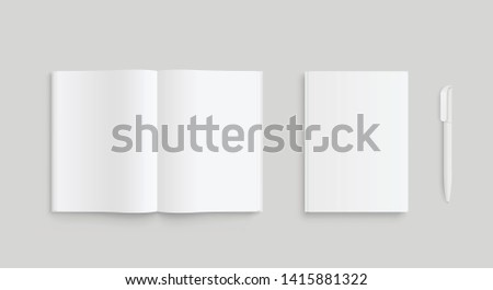 Realistic set of white paper or laptop and pen. Front view. - stock vector.