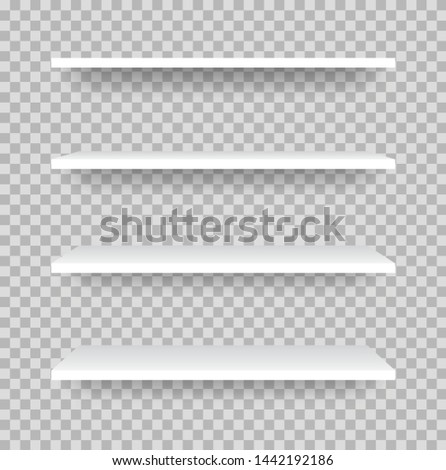 Realistic set Shelf. Empty store shelves for product. White Shelf mockup with shadow - stock vector.