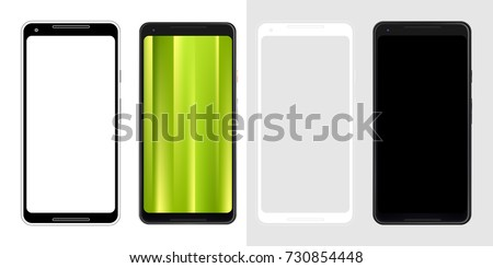 Realistic set vector image illustration mock-up of modern generation smart-phone google pixel 2 second edition. Isolated background, layered, just put image on content layer. Black white, blueprint