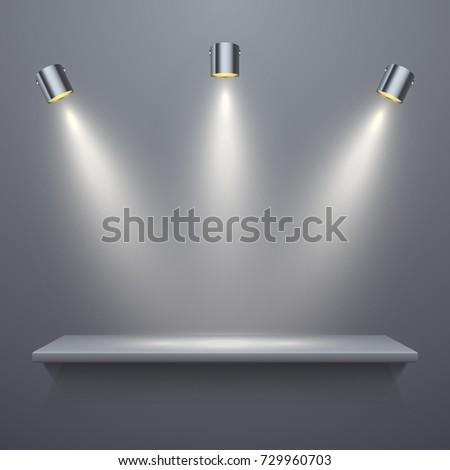 Realistic shelf with illumination, vector illustration