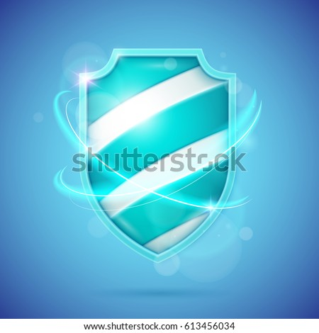 Realistic shield, a symbol of protection and reliability. Vector illustration. Foto d'archivio ©