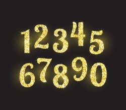 Realistic shining golden glitter numbers 1, 2, 3, 4, 5, 6, 7, 8, 9, 0. Set of isolated vector objects one, two, three, four, five, six, seven, eight, nine, zero for decoration, celebration design.