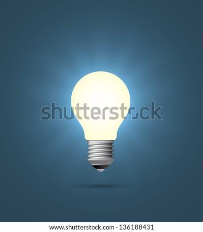 Realistic shining light bulb. EPS10 vector. - Shutterstock ID 136188431