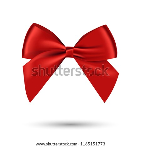 Realistic shiny satin red bow vector for decorate your greeting card,brochure or website,isolated on white background
