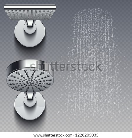 Realistic shower metal heads and trickles of water vector illustration isolated on transparent background