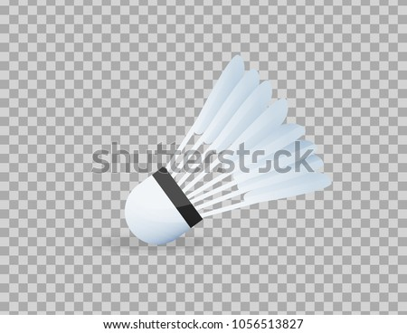 Realistic shuttlecock for big tennis, badminton, close-up. Sports equipment, competitions, hobbies. Standard of Olympic games, competitions, physical education, healthy lifestyle. Vector illustration.