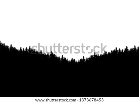 realistic silhouette of forest