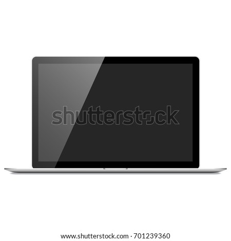 Realistic Silver Laptop Computer - Silver laptop computer with blank screen, isolated on a white background. Eps 10 file with transparency.