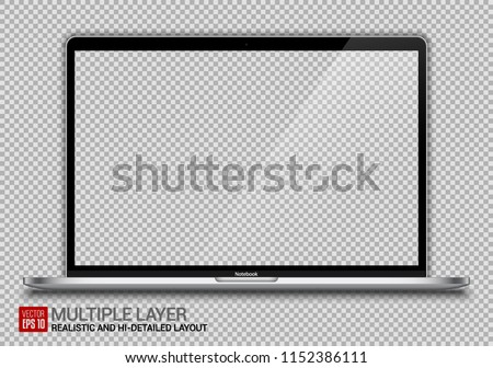 Realistic Silver Notebook with Transparent Background Isolated. 15 inch Scalable Laptop. Can Use for Project, Presentation. Blank Device Mock Up. Separate Groups and Layers. Easily Editable Vector.