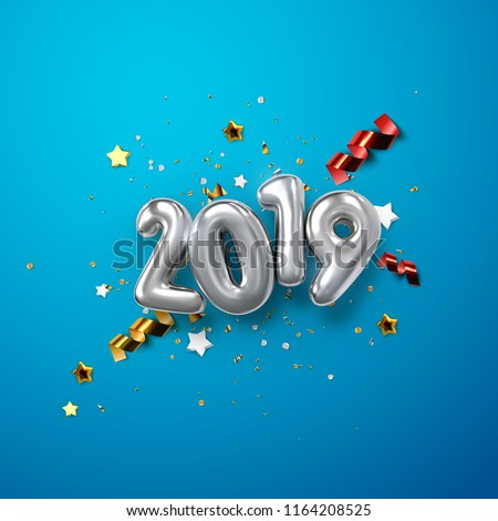 Realistic 2019 silver numbers and festive confetti, stars and streamer ribbons on blue background. Vector holiday illustration. Happy New 2019 Year. New year ornament. Decoration element with tinsel