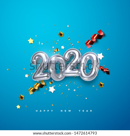Realistic 2020 silver numbers and festive confetti, stars and streamer ribbons on blue background. Vector holiday illustration. Happy New 2020 Year. New year ornament. Decoration element with tinsel
