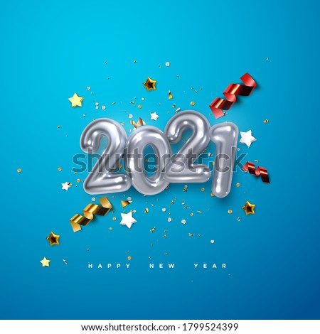 Realistic 2021 silver numbers and festive confetti, stars and streamer ribbons on blue background. Vector holiday illustration. Happy New 2021 Year. New year ornament. Decoration element with tinsel