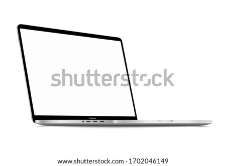 Realistic Silver White Notebook with Blank Screen. 16 inch Scalable Laptop computer. Can be Used for Project, Presentation. Blank Device Mock Up. Separate Groups and Layers. Easily Editable EPS Vector Stock fotó ©