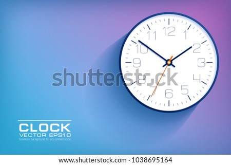 realistic simple clock in flat