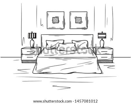 Realistic sketch of the bedroom. Hand drawn sketch of interior. Vector illustration