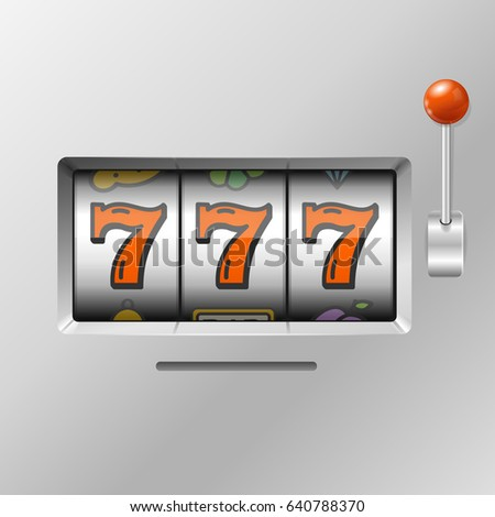 Realistic Slot Machine with Handle One Arm Lucky Sevens Jackpot Fortune Chance. Vector illustration
