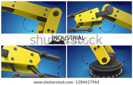 Realistic smart industry composition with yellow mechanical industrial robotic arms and manipulators vector illustration