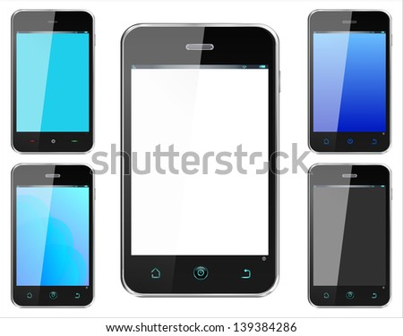 Realistic smartphone cellphone in alternate colors iphone style -  named layers and with a separate layer on main phone screen to easily add your own image