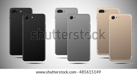 Realistic smartphone front and back set iphon style mockup. Vector illustration. for printing and web element, Game and application mockup on gradient background .