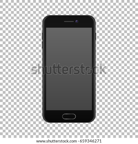 Realistic smartphone icon isolated on transparent background. Vector design template, EPS10 mockup.