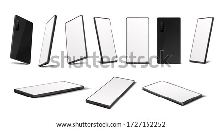 Realistic smartphone. Mobile phone mockup with blank screen in different isometric perspective. Vector illustration isolated 3D cellphone from different sides set isolated on white background