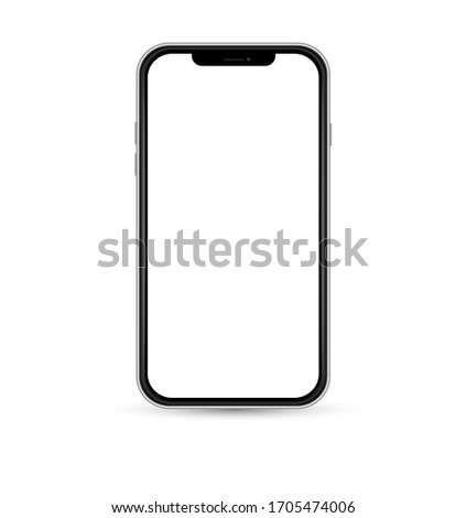 Realistic smartphone mockup. Cellphone frame with blank display,  front view. Vector EPS 10.