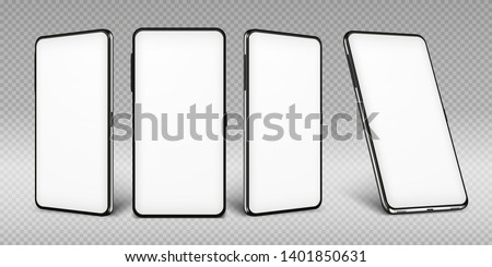 Realistic smartphone mockup. Cellphone frame with blank display isolated templates, phone different angles views. Vector mobile device concept #1401850631