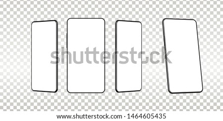 Realistic smartphone mockup. Cellphone frame with blank display isolated templates, phone different angles views. Vector mobile device concept