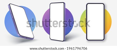 Realistic smartphone mockup. Cellphone with blank white screen, mobile phone in different angles of view. Device UI, UX mockup for presentation template. Vector mobile device concept