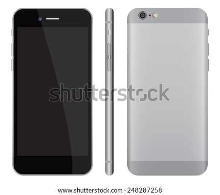 realistic smartphone mockup front, side and back vector images isolate on white background