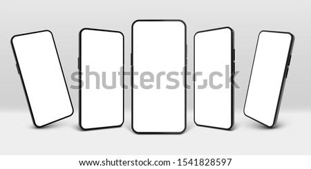 Realistic smartphone mockup. Mobile phone display, device screen frame and black smartphones vector 3D template illustration set. Communication mean, modern gadget model presentation