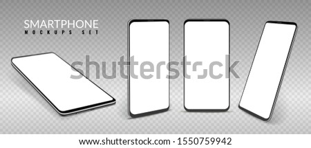 Realistic smartphone mockup. Smartphones in different view angles, frameless blank mobile phone, modern cell phones template 3d vector isometric front concept cellphone set
