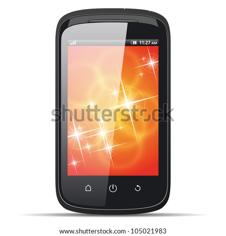 Realistic smartphone on a white background. eps10 - stock vector