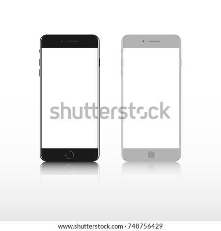 Realistic smartphone. Set realistic smartphone. Phone black, gray. Iphone 8 mockup.