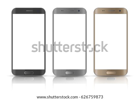 Realistic smartphone.  Three realistic vector illustrations phone. Device set. Realistic smartphone gold, gray and black cellphone.
