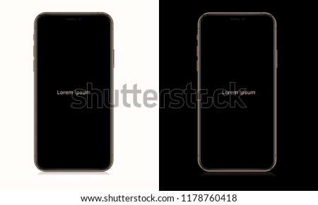Realistic smartphone with blank screen. Isolated cell phone mockup. Gold and black. Vector illustration - Shutterstock ID 1178760418